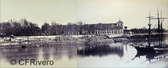 Luis Masson. Sevilla, panorámica del Palacio de San Telmo desde el Guadalquivir. Albúmina, Ca. 1860