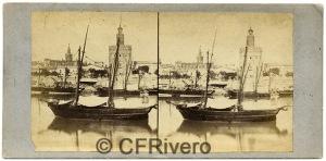 Luis Masson. Sevilla, veleros en el Guadalquivir y Torre del Oro. Albúmina, ca. 1860. (CFRivero)