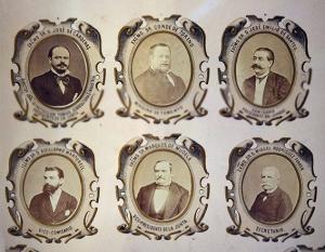 J. Laurent, Debás y Esperon. Orla de los personajes organizadores de la Exposición Vinícola de 1877. Albúmina (Bodega Toro Albalá)