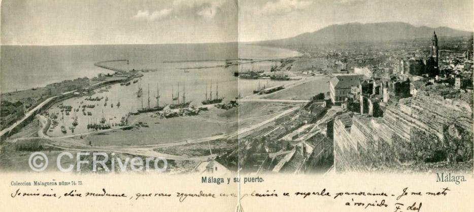 Colección Malagueña Málaga y su Puerto desde Gibralfaro Ca. 1900. Tarjeta postal en 2 partes. Impresión fotomecánica