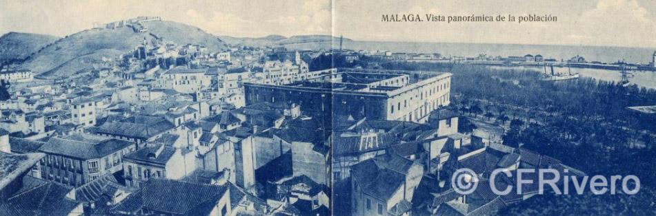 Grafos Málaga, vista panorámica de la población [tomada desde la torre de la Catedral] 1922/23. Tarjeta postal en 2 partes. Impresión fotomecánica