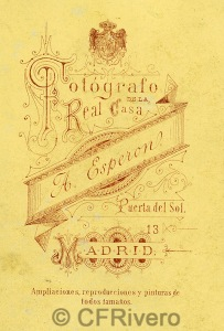 Alfredo Esperon. Dorso de una carte de visite. Madrid, ca 1870