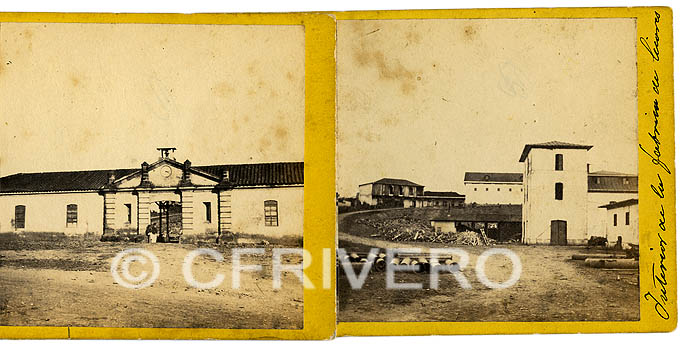 Autor desconocido. San José (Costa Rica) Fábrica Nacional de Licores, fachada e interior. Dos fotografías estereoscópicas, c.a. 1860. Albúmina