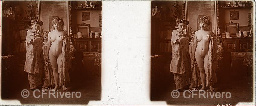 Jules Richard. Desnudos en Chantemerle. Chantemerle (Saboya). Ca. 1900. Positivo estereoscópico en gelatina de plata sobre cristal