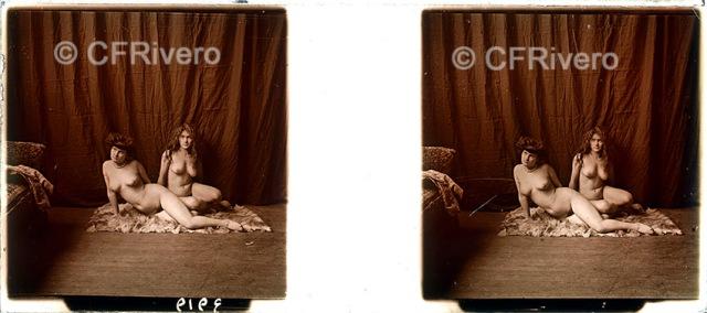 Jules Richard. Retrato de dos jóvenes desnudas. París, ca. 1910. Positivo estereoscópico en gelatina de plata sobre vidrio.