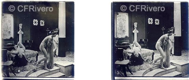 Jules Richard. Recreación neoclásica del Atrium. París. Ca. 1910. Positivo estereoscópico en gelatina de plata sobre cristal.