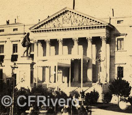 Autor desconocido. Madrid, Chambre du députés. 1863. Detalle de una mitad de un par estereoscópico en albúmina (CFRivero)