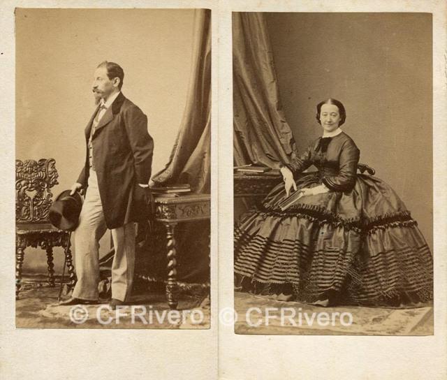 Disdéri. Retratos del Duque y la Duquesa de Alba. Paris, c.a. 1860. Cartes de visite en albúmina (CFRivero)