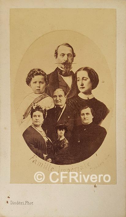 """Disdéri. Composición con los rostros de la """"Famille Imperiale"""" de Napoleón III. Carte de visite en albúmina (CFRivero)"""