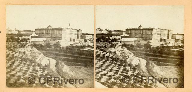 """Autor desconocido. """"Madrid, Palacio. Vista general"""". 1863. Estereoscopia en albúmina. (CFRivero)"""