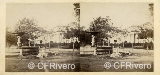 """Autor desconocido. """"Madrid, Prado. Fontaine & Musée"""" [Una de las 4 fuentecillas]. 1863. Estereoscopia en albúmina. (CFRivero)"""
