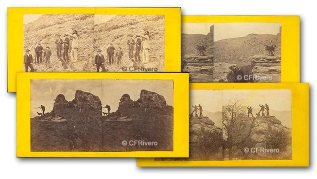 José Spreáfico. Reportaje de caza en el Monte Hacho en Álora. Álora (Málaga). 1870. Estereoscopia en Albúmina (CFRivero)