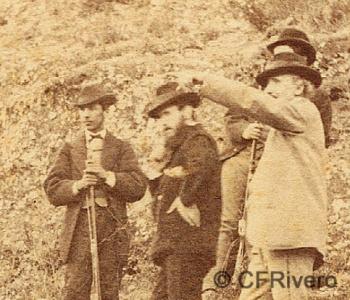 José Spreáfico. Cacería en el Monte Hacho de Álora con Francisco Romero Robledo. Álora (Málaga). 1870. Estereoscopia en Albúmina (CFRivero)