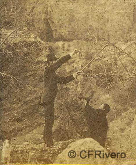 José Spreáfico. Bromas de cazadores en el Monte Hacho de Álora. Álora (Málaga). 1870. Estereoscopia en Albúmina (CFRivero)