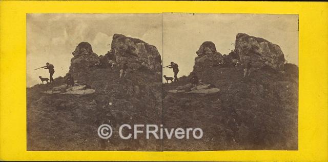 José Spreáfico. Francisco Romero Robledo cazando en el Monte Hacho en Álora. Álora (Málaga). 1870. Estereoscopia en Albúmina (CFRivero)