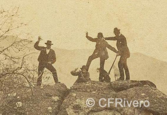 José Spreáfico. Reportaje de caza en el Monte Hacho en Álora, detalle. Álora (Málaga). 1870. Estereoscopia en Albúmina (CFRivero)