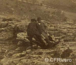 José Spreáfico. Reportaje de amigos en el Monte Hacho en Álora (detalle). Álora (Málaga). 1870. Estereoscopia en Albúmina (CFRivero)
