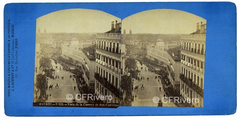 Jean Laurent. Madrid, la Carrera de San Gerónimo el 7 de Febrero de 1862, al paso del entierro de Francisco Martínez de la Rosa. Estereoscopia en albúmina (CFRivero)