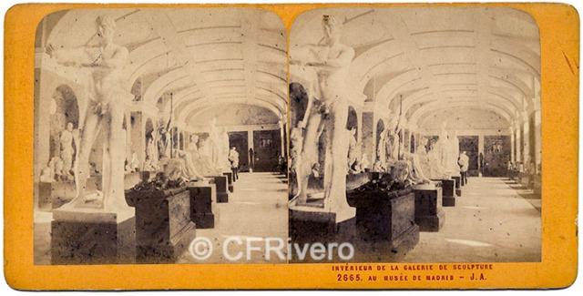 [Jean-Jules Andrieu]. 2665 Interieur de la Galerie de sculpture au Musée de Madrid. 1867. Estereoscopia en albúmina. (CFRivero)