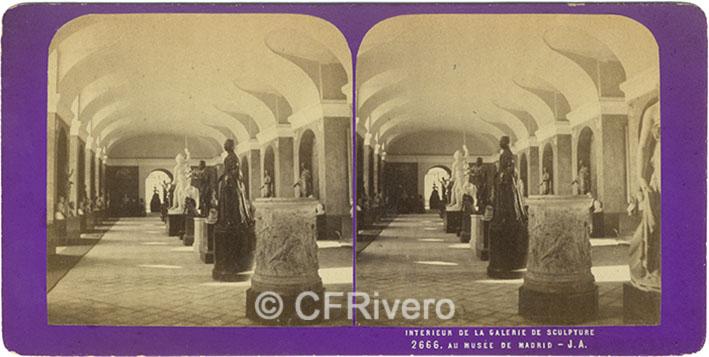 [Jean-Jules Andrieu]. 2666 Interieur de la Galerie de sculpture au Musée de Madrid. 1867. Estereoscopia en albúmina. (CFRivero)