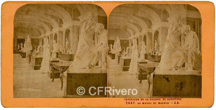 [Jean-Jules Andrieu]. 2667 Interieur de la Galerie de sculpture au Musée de Madrid. 1867. Estereoscopia en albúmina. (CFRivero)
