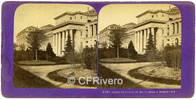 [Jean-Jules Andrieu]. 2701 Façade principale du Musée Royal a Madrid. 1867. Estereoscopia en albúmina (CFRivero)