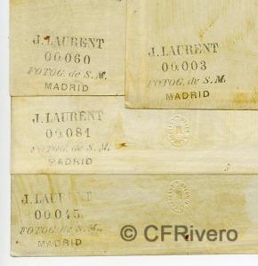 Jean Laurent. Dorsos de cuatro fotografías que reproducen pinturas del Museo del Prado (CFRivero)