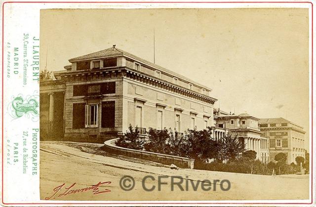 Jean Laurent. Madrid, Fachada del Museo del Prado desde el norte. 1870d. Cabinet en albúmina. (CFRivero)