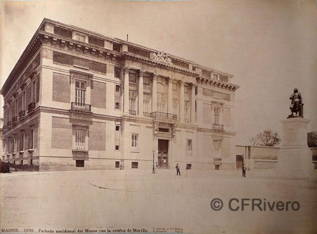 Jean Laurent. Madrid. 1026. Fachada meridional del Museo con la estatua de Murillo. Ca. 1865. Albúmina (CFRivero)