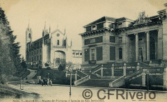 Fototipia Laurent. Núm. 6 Madrid. Museo de Pinturas e Iglesia de San Jerónimo. Tarjeta Postal. 1900/1905. (CFRivero)