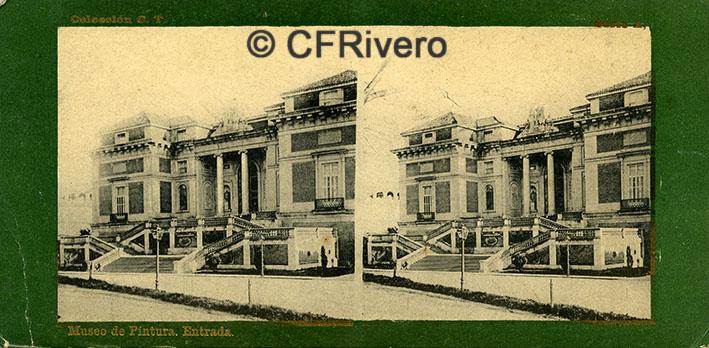 Fototipia Laurent. Museo de Pintura, entrada. Madrid, 1890/1900. Estereoscopia. Impresión fotomecánica (CFRivero)