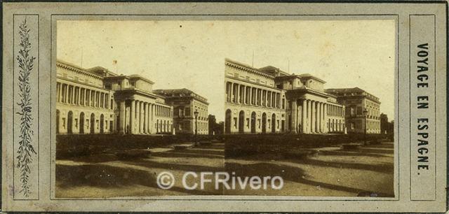 Joseph Carpentier. Madrid, fachada principal del Museo del Prado. 1856. Estereoscopia en albúmina (CFRivero)