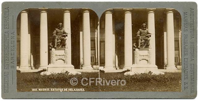 Sociedad Estereoscópica. 803 Madrid, estatua de Velázquez. 1890/1900. Estereoscopia en gelatina de plata. (CFRivero)