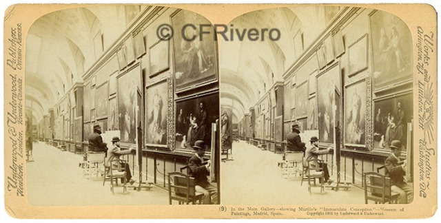 "Underwood & Underwood. In the Main Galery – Showing Murillo's ""Inmaculate Conception"" - Museum of Paintings, Madrid, Spain. Estereoscopia en gelatina de plata. Ca. 1905. (CFRivero)"