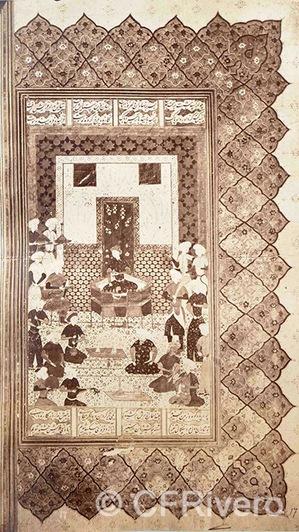 Francis H. Bacon?. Página de un manuscrito miniado con una escena cortesana. Turkía. 1880d. Albúmina (CFRivero)