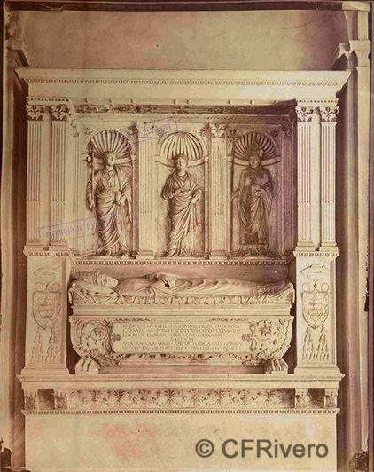 Francis H. Bacon. Tumba del obispo Juan de Mella originalmente en la Iglesia de Santiago de los Españoles. Roma. 1880d. Albúmina (CFRivero)