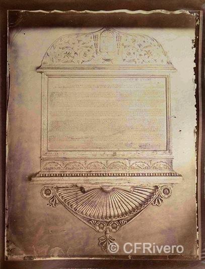 Francis H. Bacon?. Lápida con el epitafio del obispo Diego Melendez de Valdés, obispo de Zamora. Roma. 1880d. Albúmina (CFRivero)