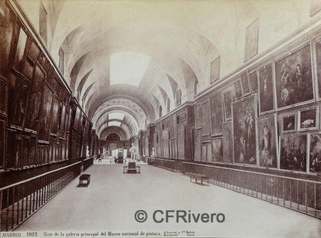 Jean Laurent. Madrid, vista de la Galería principal del Museo Nacional de Pintura. ca. 1870. Albúmina. (CFRivero)