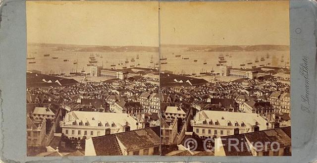 Jean Laurent. Lisboa, vista panorámia de la plaza del Comercio. Estereoscopia en albúmina. 1869 (CFRivero)