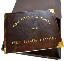 Jean Laurent, José Martínez Sánchez. Obras Públicas de España | Tomo 3º Faros, Puertos y Canales. 1867. Álbum enc. en piel con 40 fotografías. (CFRivero)
