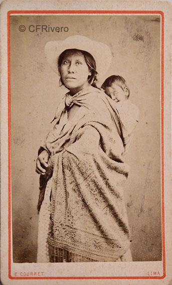 Eugène Courret. Mujer peruana con niño. Lima, h. 1875. Carte de visite en albúmina (CFRivero)