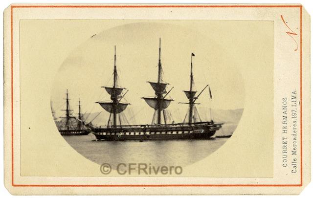 "Courret Hermanos. Fragata ""Villa de Madrid"". Carte de visite en albúmina. Lima 1866 (CFRivero)"