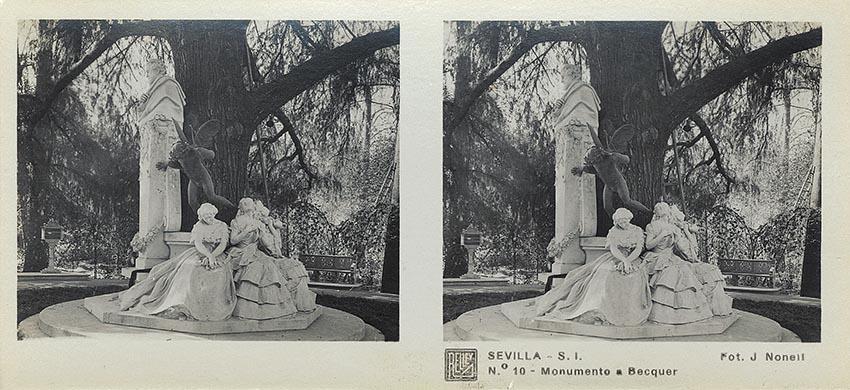 José Codina ed. Sevilla, Monumento a Becquer. Ca. 1835. Estereoscopia en gelatina de plata. (CFRivero)