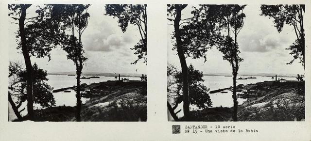 José Codina ed. Santander, una vista de la bahía. Ca. 1835. Estereoscopia en gelatina de plata. (CFRivero)