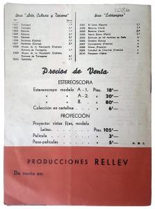 """José Codina Torrás. Última página de su folleto publicitario sobre productos de la """"Estereoscopia Rellev"""". Ca. 1941. (CFRivero)"""