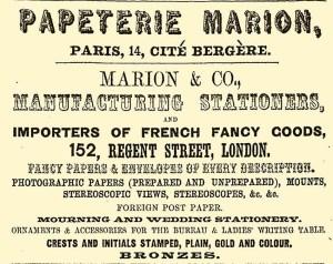 Anuncio aparecido en la prensa inglesa de la marca francesa de papel Marion. h. 1858.