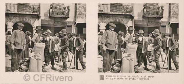 José Codina ed. Pueblos típicos de España - 2ª Serie - Nº 13 Barco de Ávila, mercado. Ca. 1935. Estereoscopia en gelatina de plata. (CFRivero)