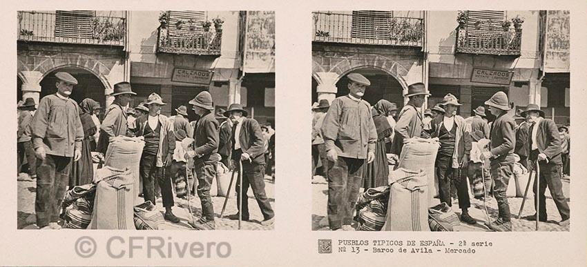 José Codina ed. Pueblos típicos de España - 2ª Serie - Nº 13 Barco de Ávila, mercado. Ca. 1835. Estereoscopia en gelatina de plata. (CFRivero)