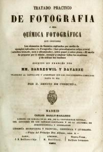 Portada del manual de fotografía de Barreswil y Davanne. Traducción al castellano. Madrid, 1864. (CFRivero)