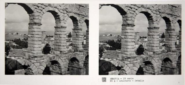 José Codina ed. Segovia, Acueducto detalle. Ca. 1835. Estereoscopia en gelatina de plata. (CFRivero)